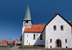 St. Nicolas Church in Roenne op Bornholms Stock Foto's