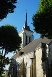 St. Nicolas church and spire at Saumur, France. Church and spire of St. Nicolas in Saumur Royalty Free Stock Photos