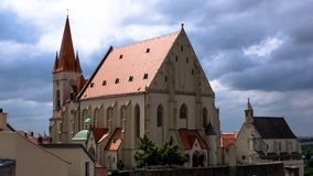 St Nicolas Church in Znojmo. A landmark in the citz centre stock images