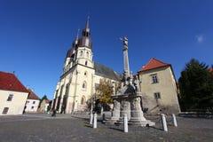 St. Nicolaus Church on Square - Trnava. St. Nicolaus Church on Square of the Holy Trinity (Kostol sv. Mikulasa, Namestie svataj trojice), in Trnava, Slovakia Stock Photo