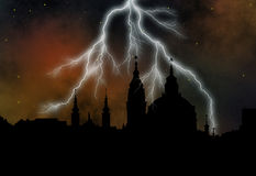 St Nikolas church at stormy night. Outline of the St Nikolas church at stormy night - Prague Stock Photo