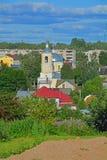 St Nikolay& x27; 18世纪的s教会在Borisoglebsk修道院附近的在Torzhok市,俄罗斯 免版税库存图片