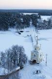 St Nilus Monastery nel lago Seliger, orario invernale Fotografie Stock