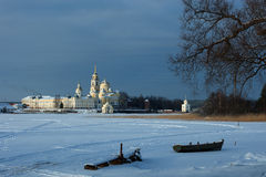 St. Nilus Monastery at Seliger lake. Royalty Free Stock Images