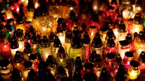 Cantles of All Saints Day. 1st of November, All Saints Day, Krakow Poland Royalty Free Stock Photography