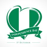 1st October Nigeria Independence Day love emblem. Flag of Nigeria with heart shape for Nigerian Independence Day isolated on white background. Vector stock illustration