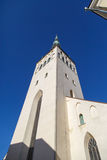 St Olaf Church. Outside bottom view of St. Olaf Church, on navy blue sky background Royalty Free Stock Photos