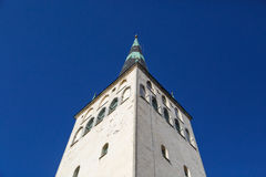 St Olaf Church. Outside bottom view of St. Olaf Church, on navy blue sky background Stock Image