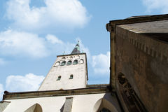 St Olaf Church. Outside view of St. Olaf Church, on blue cloudy sky background Stock Images