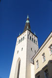 St Olaf Church. Outside view of St. Olaf Church, on navy blue sky background Stock Photography