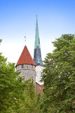 St Olaf (Oleviste) Church and medieval tower . Tallinn, Estonia Royalty Free Stock Image