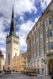 St. Olaf`s church Oleviste kirik in Tallinn old town, Estonia Stock Photos