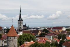 St. Olaf`s Church and Tallinn Stock Photo