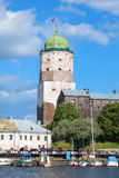 The st. Olaf`s tower closeup, sunny August day. Vyborg castle Royalty Free Stock Images