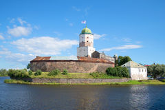 The st. Olaf`s Tower in the old Vyborg castle, sunny day. Russia Stock Image