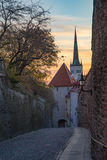 St. Olav Church tower against colorful morning sky Royalty Free Stock Photography