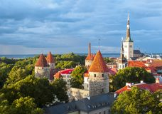 St. Olav`s church tower and Tallinn walls, Estonia stock photography