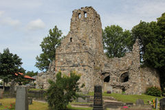 St Olof church ruin in Sigtuna, Sweden stock image