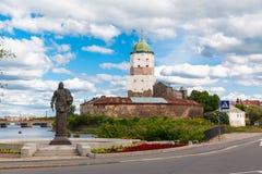 St Olov kasteel, oud middeleeuws Zweeds in Vyborg Stock Afbeelding