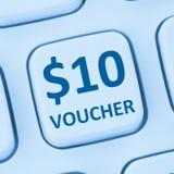 St online di Internet di acquisto di vendita a ribasso del regalo del buono di 10 dollari Fotografia Stock Libera da Diritti