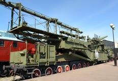 St Pétersbourg, Russie Vue du système ferroviaire superlourd de l'artillerie TM-3-12 Photographie stock libre de droits