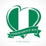 1st Października Nigeria dnia niepodległości miłości emblemat Zdjęcie Stock