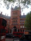 St Pancras Hotel King's Cross London. A view of the St Pancras Hotel from Euston Road on a sunny day in London Stock Photo