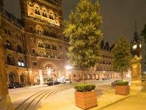 St. Pancras Hotel, London at night stock photo