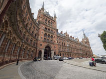 St. Pancras Hotel, London at night royalty free stock photography