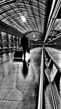 Monochromatic inspirations: travelling. St Pancras International Railway Station in London - now almost empty at 4.40 a.m Royalty Free Stock Photography