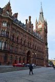 11/03/2018 St Pancras internationella stångstation London Arkivfoto