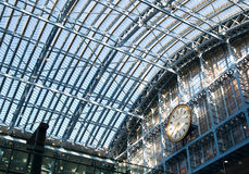 St. Pancras Railway Station. Glass roof over St. Pancras International Railway Station,London stock photos
