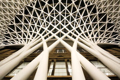 St Pancras reverse waterfall structure from below. Picture shows an architectural structure design inside London St Pancras Train Station. The picture is taken Royalty Free Stock Images