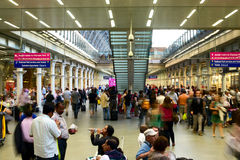 St Pancras rush hour. This is an image taken at St Pancras Train station during the London 2012 Olympic Games. It is rush hour and there are people walking to stock photos