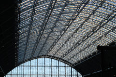 St Pancras steel and glass roof. Stock Photos