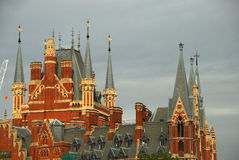 St Pancras Train Station. Rooftop detail of St Pancras train station in London Stock Image