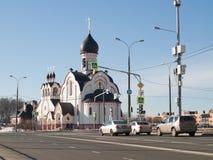 St Panteleimon Church i södra Butovo, mars 2016 Royaltyfri Bild