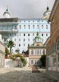 St Panteleimon Monastery på Mount Athos Arkivfoton