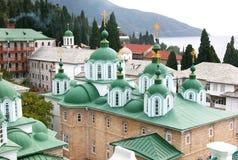 St Panteleimon Monastery på Mount Athos Royaltyfria Bilder