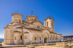 "St Pantelejmon - ""Plaosnik""kyrka i Ohrid, Makedonien Royaltyfria Bilder"