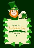 St. Partick day greeting card. With leprechaun Royalty Free Stock Photo