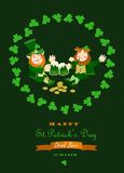 St. Partick day greeting card. With leprechaun Stock Photo