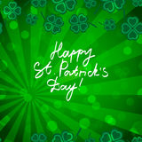 St Patric day pattern with green clover leafs Stock Photos