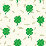 St Patric day pattern with green clover leafs Stock Photo