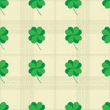 St Patric day pattern with green clover leafs Stock Image