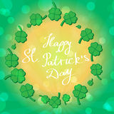 St Patric day pattern with green clover leafs Royalty Free Stock Photo