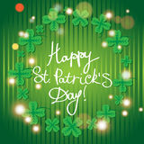 St Patric day pattern with green clover leafs Royalty Free Stock Photos