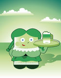 St. Patric's Day. Vector illustration of little girl serving bear for St.Patric's Day Royalty Free Stock Images