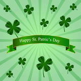 St. Patric's Day poster with four leaves clover Stock Images