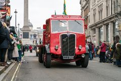 St Patrick`s Parade in London. 18 March 2018 - London, England. British Road services, old 1950 AEC Mammoth Major truck is in St Patrick`s parade, London Royalty Free Stock Image